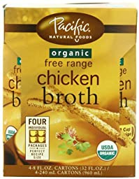 Pacific Natural Foods Organic Free Range Chicken Broth, 8-Ounce Pouches (Pack of 24)