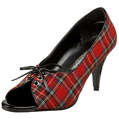 PUPIL-24, Red Plaid Open Toe Pump, 3(Red Plaid,7)