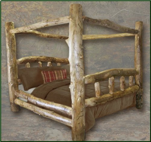 King Size Aspen Canopy Log Bed