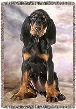 Black Tan Coonhound Dog Woven Throw Blanket 54 x 38