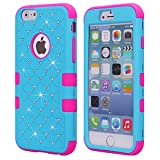 Image of iPhone 6S Plus Case, iPhone 6 Plus Case, NOKEA Hybrid Heavy Duty Shockproof Full-Body Protective Case Ultra Slim Bumper Cover 3 in 1 Shield Soft TPU Hard PC Dual Layer Impact Protection (Blue Rose)
