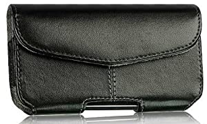 ZTE Z998 Horizontal Side Load Center Stitched Leather Case Pouch Built In Velcro Flap With Clip Made With Soft Interior Material Black
