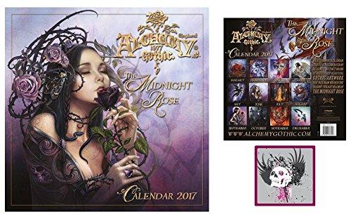 Set: Gothic, Alchemy, Rosa Di Mezzanotte, Calendario Ufficiale 2017 (30x30 cm) E 1x Sticker Adesivo (9x9 cm)