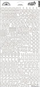 Doodlebug 624830 6 in. x 13 in. Candy Shoppe Cardstock Alphabet Stickers Sheet - Sugar Coated Lily White