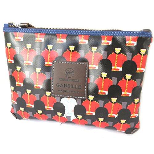 Borsa sacchetto 'Gabs'rosso nero (guardia britannica)- 24x18x3 cm.