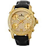 """JBW Men's JB-6244-A """"Jet Setter"""" Five Time Zone Diamond 18K Gold Plated Stainless Steel Black Leather Watch"""