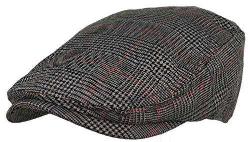 Plaid Pattern Ivy Driver Hunting Flat Newsboy Hat (Dark Grey)