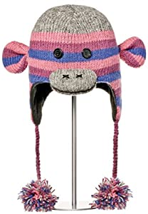 Knitwits Purple Stripe Sock Monkey Pilot Hat