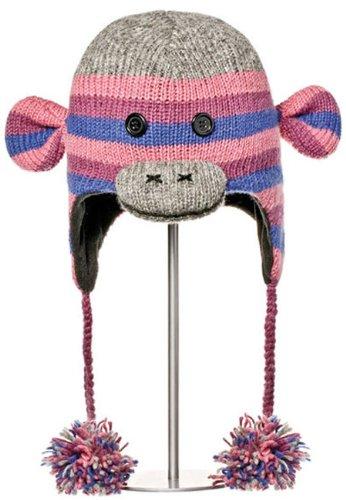 Knitwits Purple Stripe Sock Monkey Pilot Hat
