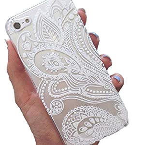 iPhone 6S+, Shensee For iPhone 6S Plus Clear Henna White Floral Flower Plastic Case Cover Skin [For 5.5 inch, Iphone 6S+]
