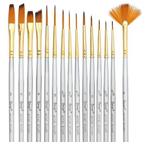 Bianyo Detail Paint Brush Set - 15 Piece Miniature Brushes for Models, Airplane Kits Detail Art Painting Suitable for Acrylic, Watercolor, Oil (Models Kits compare prices)