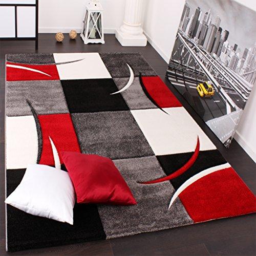 Tappeto Di Design Orlo Modello A Quadri Nei Colori Bianco Rosso Grigio Nero, Grösse:160x230 cm