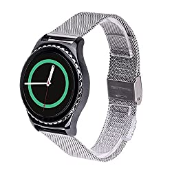 Gear S2 Classic Watch Band, MoKo Universal Stainless Steel Watch Band Strap Bracelet for Samsung Galaxy Gear S2 Classic SM-R7320 / Motorola Moto 360 2 42mm Smart Watch - SILVER