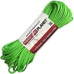 Paracord Planet 10' 550lb Type III Neon Green Paracord