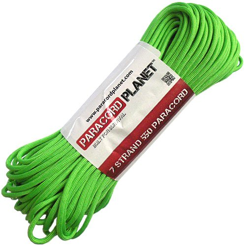 Paracord Planet Mil-Spec Commercial Grade 550lb Type III Nylon Paracord 50 feet Safety Green