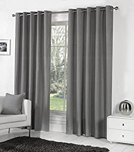 CHARCOAL GREY 100% COTTON 90x54 229x137CM FULLY LINED RING TOP CURTAINS DRAPES from Curtains