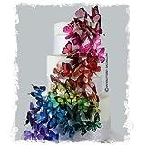 3D Butterfly Rainbow Cascade Wedding Cake Topper Set Butterflies (45, Rainbow)