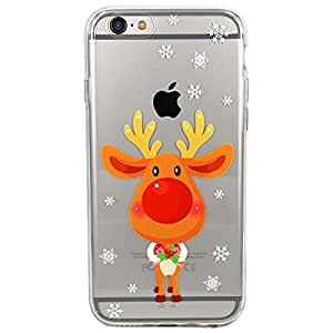 iPhone 5/5S Case, SwiftBox Cute Cartoon Case for iPhone 5 5S with Tempered Glass Screen Protector (Deer)