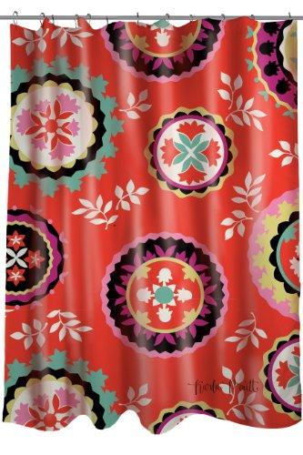 Thumbprintz Fabric Shower Curtain, Susani Bird Berries front-481281
