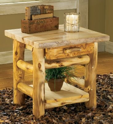 Cheap Mountain Woods Aspen Log One-Drawer End Table (B004YRCQOS)