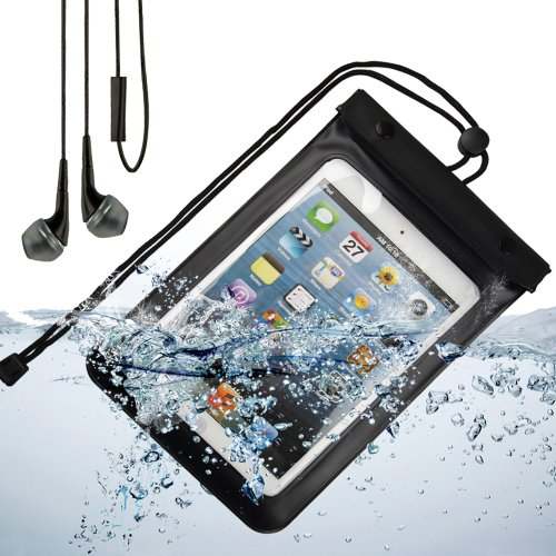 Waterproof Protective Pouch Case With Strap For Apple Ipad Mini (Black) + Black Vangoddy Earphones With Mic