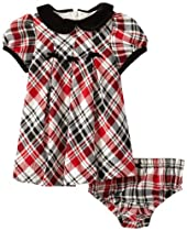 Hartstrings Baby-Girls Newborn Yarn Dyed Plaid Dress with Coordinating Diaper Cover, Black/Red Plaid, 6-9 Months