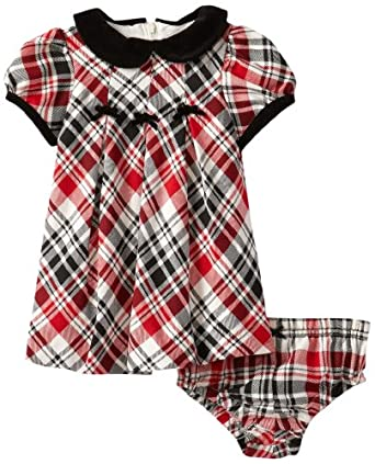Hartstrings Baby-Girls Newborn Yarn Dyed Plaid Dress with Coordinating Diaper Cover, Black/Red Plaid, 3-6 Months