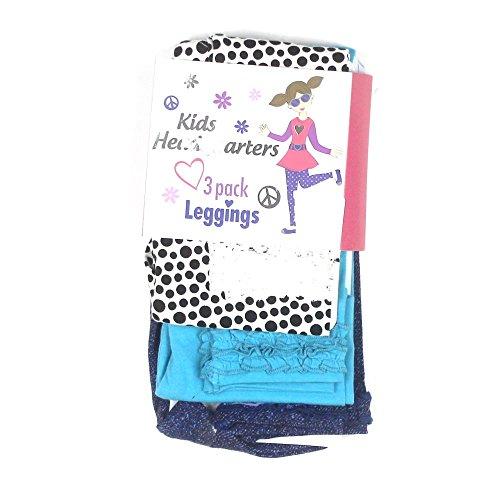 Kids Headquarters Girls 3-Pair Cotton Leggings 10 Blue Multi front-881632