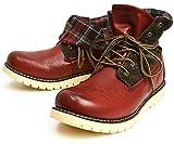 (リベルトエドウィン) LIBERTO EDWIN ワークブーツ レインシューズ ブーツ シューズ 防水 防寒 折り返し メンズ 28cm ワイン レッド