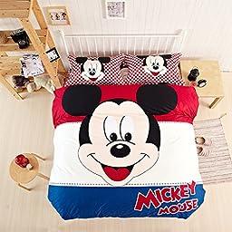 CASA Children 100% Cotton Mickey Series Mickey Duvet cover & Pillow cases & Flat sheet,Duvet cover set,3 Pieces,Twin