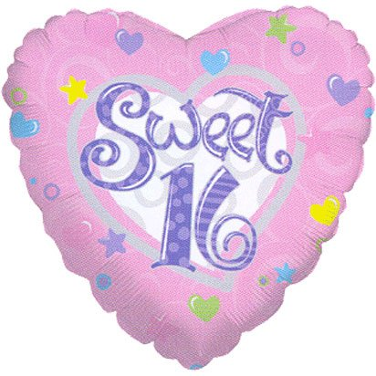 "18"" Sweet 16 Silver Lining (1 per package)"