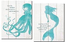 Beautiful Inspirational Mermaid and Octopus Set; 2-11x14\