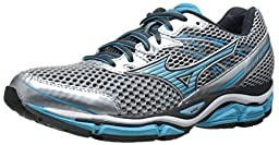 Mizuno Women\'s Wave Enigma 5 Running Shoe, Silver/Blue Atoll, 7.5 B US
