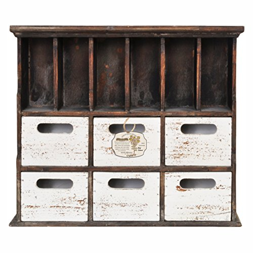 Distressed Wood Cabinet With Cubbies (Brown/White)