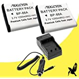 Two Halcyon 1250 mAH Lithium Ion Replacement Battery and Charger Kit for Samsung DV300F Digital DualView Camera and Samsung BP-88A