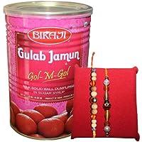 Handicrunch Bikaji Tin Gulam Jamun Online 1.25 Kg With Dora Rakhi Combo Set Of 2