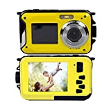 PowerLead Double Screens Waterproof Digital Camera 2.7-Inch Front LCD with 2.7-Inch Camera Easy Self Shot Camera