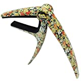 Sound harbor MA-14 Capo Guitar Capo for Acoustic and Electric Guitars, Single Handed Zinc Alloy Capo Quick Change for Guitars, Bass, Ukulele (Floral pattern)
