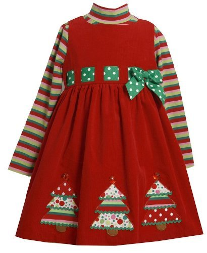 Bonnie Jean Girls 2T-4T Red Green Christmas Tree Applique Jumper Dress Set, 2T front-997508