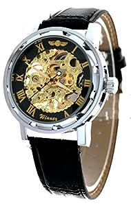 New Brand Mall Classic Steampunk Bling Mechanical Wristwatch Hand-wind Skeleton Golden Black