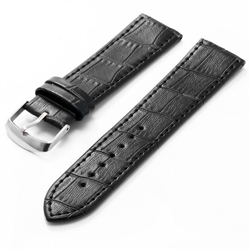 KS 22mm Military Black Genuine Leather Mens Replacement Watch Band Straps WB2213