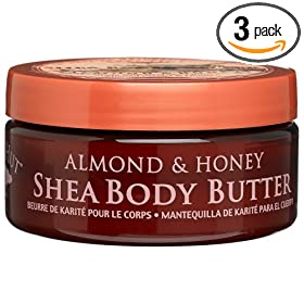 Tree Hut Shea Body Butter, Almond & Honey, 7-Ounce Jars (Pack of 3)
