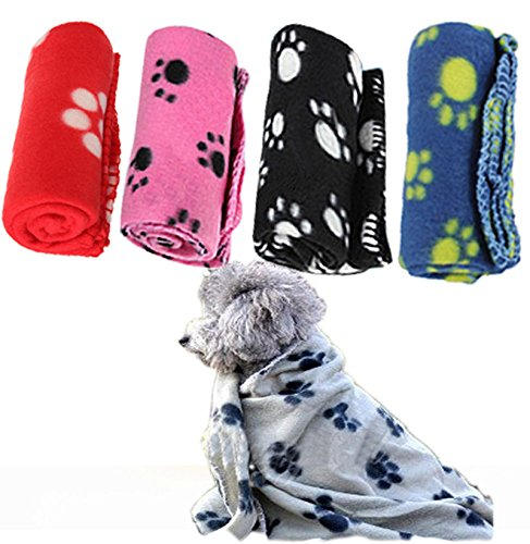 Pecute® Pet Puppy Dog Cat Paw Print Fleece Blanket Mat Pad Cover Bed Random Color