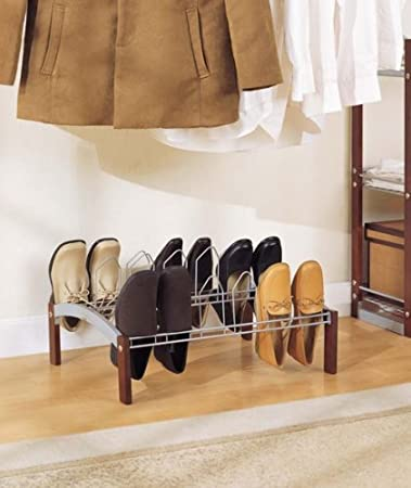 Organize It All Espresso 9 Pair Wood And Metal Shoe Rack 10730