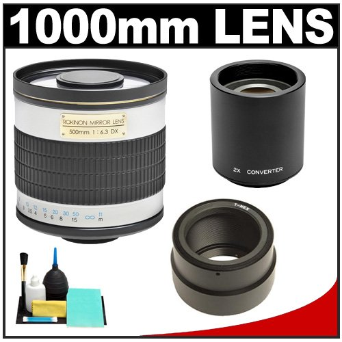 Rokinon 500Mm F/6.3 Mirror Lens & 2X Teleconverter (= 1000Mm) With Cleaning Kit For Sony Alpha Nex-C3, Nex-F3, Nex-5, Nex-5N, Nex-7 Digital Cameras