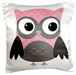 3dRose pc_167615_1 Cute Pink and White Plaid Owl - pillow Case, 16 by 16