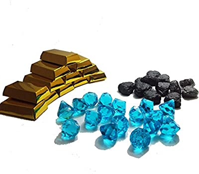 Mining Party Favors for 12: Blue Acrylic Gems (16), Small Gold Bar Boxes - 3 Inch (12), Lump of Coal Erasers (12), Green Paper Favor Bags (12) and Bonus Party Ideas! from Party Supplies