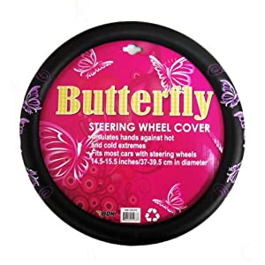 Comfort Grip Steering Wheel Cover - Multiple Purple Butterflies