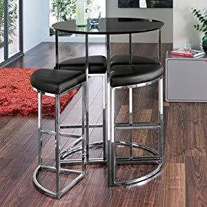 Ensemble table haute de bar ronde et 4 chaises noir for Ensemble chaise et table de cuisine