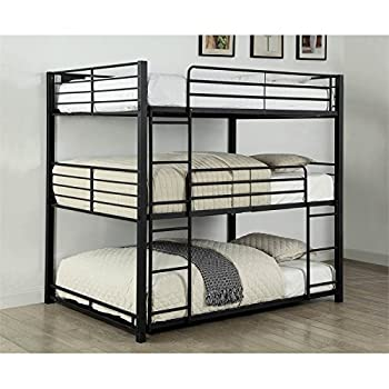 Furniture of America Botany Modern Full Triple Bunk Bed in Sand Black